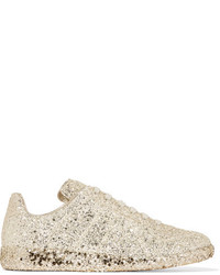Maison Margiela Glittered Leather Sneakers Gold