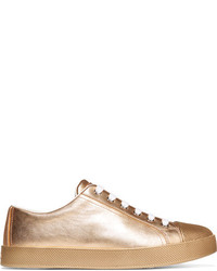 Metallic textured leather sneakers gold medium 818822