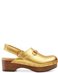 Gucci Amstel Metallic Leather Clog