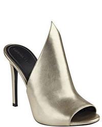 Essie Metallic Leather Peep Toe Mules