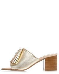 River Island Gold Leather Tassel Mules