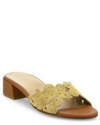 Stuart Weitzman Juneflorette Chain Trim Leather Block Heel Slides