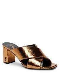 Saint Laurent Loulou Metallic Leather Crisscross Block Heel Mules
