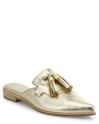 Stuart Weitzman Slidealong Tasseled Metallic Leather Mules