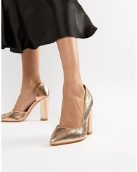 Glamorous Gold Block Heeled Shoes