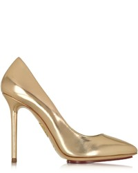 Charlotte Olympia Monroe Rose Gold Metallic Leather Pump