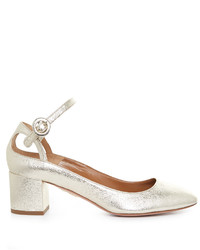 Aquazzura Sweet Thing Leather Block Heel Pumps