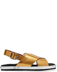 Marni Laser Cut Metallic Leather Sandals Gold