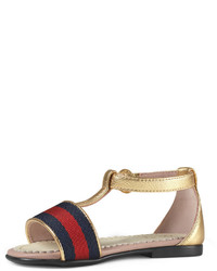 Gucci Metallic Leather Web Trim Sandal Gold Toddler