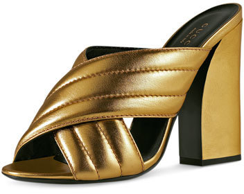 eda1f8e3984 ... Neiman Marcus › Gucci › Gold Leather Sandals Gucci Webby Metallic 110mm  Sandal Oro ...