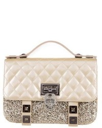 Philipp Plein Quilted Leather Glitter Skull Satchel