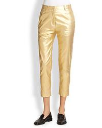 Metallic coated linen cropped pants medium 127250