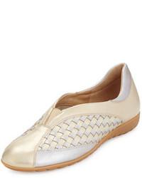 Sesto Meucci Barabel Woven Leather Slip On Sneaker Pale Platino