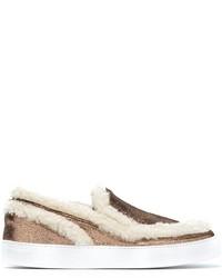 Faux shearling trim slip on sneakers medium 916911