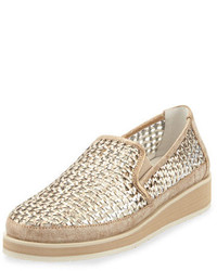 Donald J Pliner Maze Woven Leather Slip On Sneaker Light Bronze