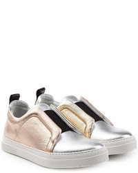 Pierre Hardy Metallic Leather Slip On Sneakers