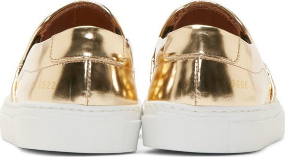 5b225b8152e3 Woman By Common Projects Copper Metallic Slip On Sneakers, $445 | SSENSE |  Lookastic.com