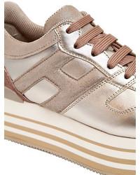 Hogan 70mm Maxi 222 Metallic Leather Sneakers, $575   LUISAVIAROMA ...