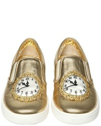 Dolce & Gabbana Clock Nappa Leather Slip On Sneakers