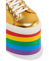 5eab54641 Gucci Metallic Leather Platform Sneakers Gold, $995 | NET-A-PORTER ...