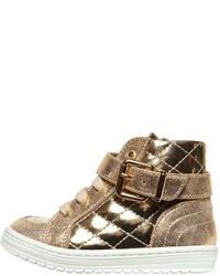 Simonetta Metallic Leather High Top Sneakers