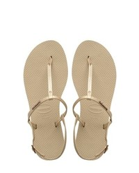 Gold Leather Thong Sandals