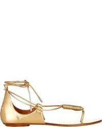 Aquazzura California Flat Sandals Gold