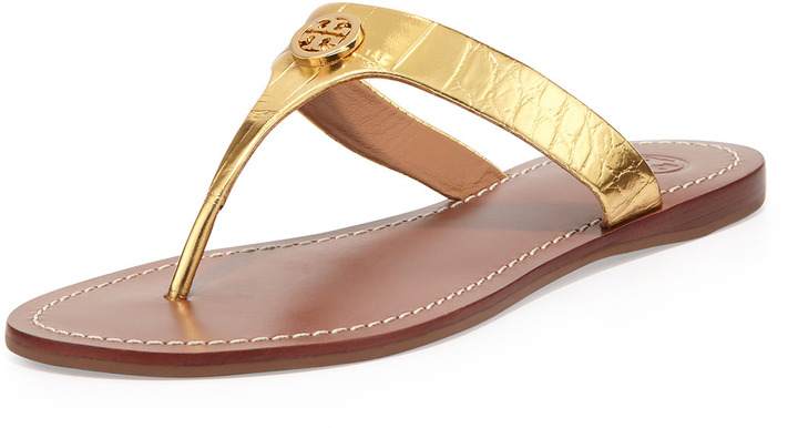 5058c6e84216 ... Tory Burch Cameron Croc Embossed Thong Sandal Gold ...