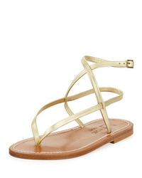 K. Jacques Delta Crisscross Metallic Thong Sandal