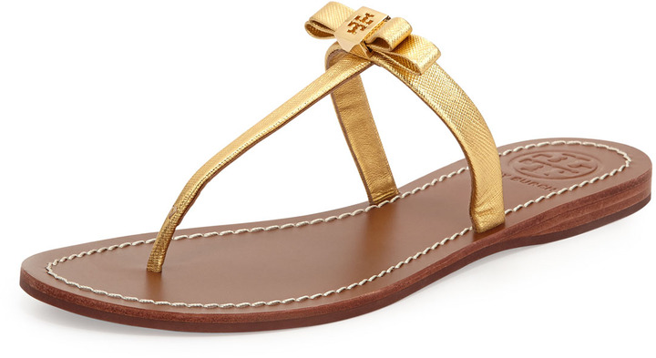 c155a8626e3 ... uk tory burch leighanne bow thong sandal gold 84b1c 66c15