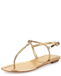 02c1c4e9a9ac Women s Gold Leather Thong Sandals by Prada