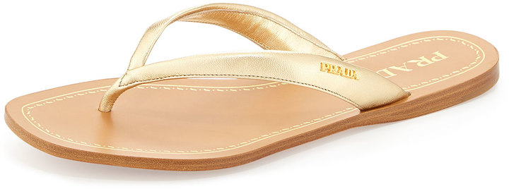 95b9a53ae4f8 ... Gold Leather Thong Sandals Prada Metallic Leather Logo Thong Sandal ...