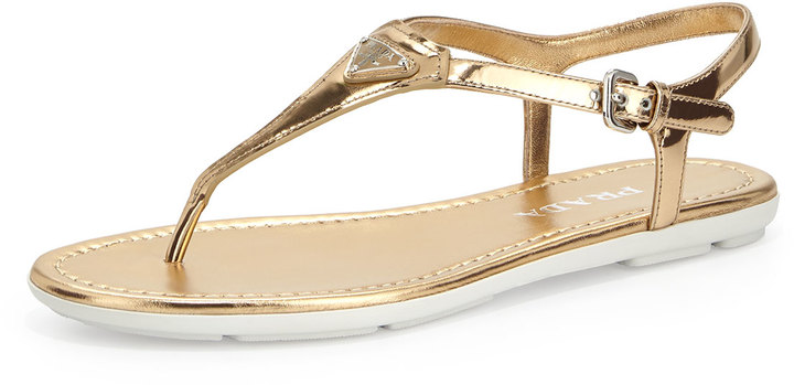 2c8024ca7be7 ... Gold Leather Thong Sandals Prada Metallic Leather Thong Sandal Platino  ...