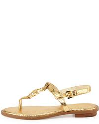 df89c6b7a8e5 ... MICHAEL Michael Kors Michl Michl Kors Sondra Snake Print Logo Thong  Sandal Pale Gold