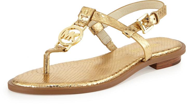 e11bd84a37c0a6 ... Leather Thong Sandals MICHAEL Michael Kors Michl Michl Kors Sondra  Snake Print Logo Thong Sandal Pale Gold ...