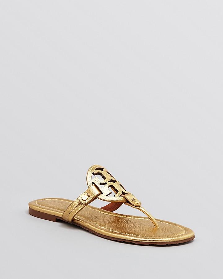 5e5ced42804d8 ... Gold Leather Thong Sandals Tory Burch Miller Metallic Flat Thong Sandals  ...