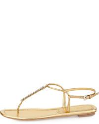 Bottega Veneta Metallic Woven Leather Thong Sandal Gold