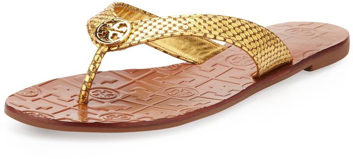cf160a684c7f21 ... Tory Burch Thora Logo Thong Sandal Gold ...