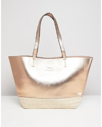 New Look Gold Straw Beach Bag