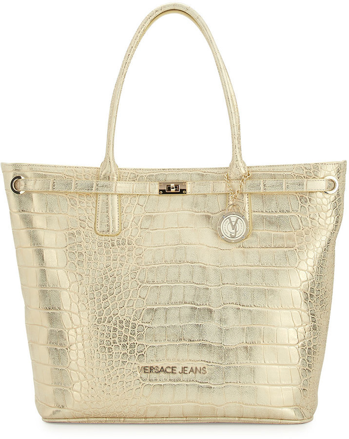 e97bd51a4 ... Last Call by Neiman Marcus › Versace › Gold Leather Tote Bags Versace  Jeans Large Crocodile Embossed Faux Leather Tote Bag Gold ...