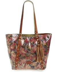 Metallic tooled lace benvenuto leather tote red medium 963585