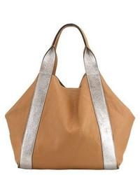 Brunello Cucinelli Reversible Metallic Leather Tote Bag Silver