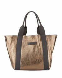 Brunello Cucinelli Shearling Lined Metallic Leather Tote Bag
