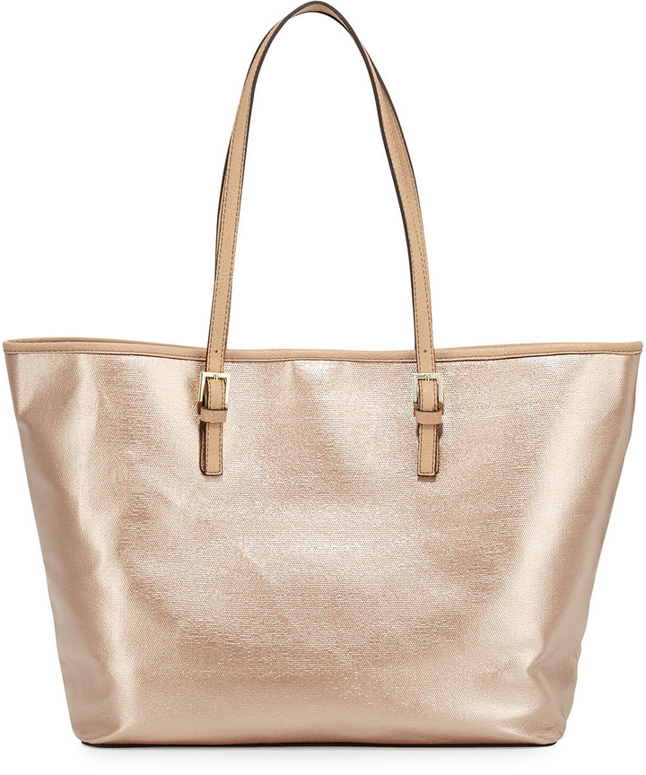 Neiman Marcus Vacay Metallic Faux Leather Tote Bag Rose Gold ...