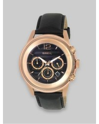 Breil Milano Breil Rose Gold Ip And Black Leather Three Chronograph Watch