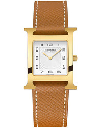 Hermes Heure H Gold Plate Leather Strap