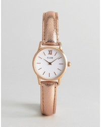 Cluse Rose Gold Metallic Vedette Leather Watch