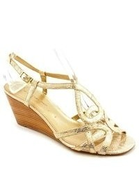 Bandolino Rodger Gold Leather Wedge Sandals Shoes Newdisplay