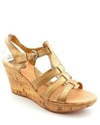 Born Concept Abbott Gold Leather Wedge Sandals Shoes Newdisplay
