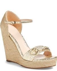 224f80979736 ... Gucci Carolina Wedge Sandal Size 10us 40eu Metallic